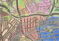 These beautiful maps were drawn in colored pencil by John Phalane, a cartographic artist who focuses on the areas of South Africa where he's lived and worked.