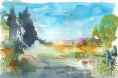 Signed Original Watercolour -Summer Morning - by Annabel Burton #Expressionism