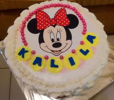 Minnie mouse chocolate sprinkle cake with buttercream