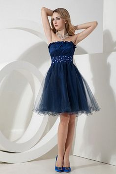 Tulle Strapless Elegant Homecoming Dresses - Order Link: http://www.theweddingdresses.com/tulle-strapless-elegant-homecoming-dresses-twdn0960.html - Embellishments: Beading , Sash , Crystal , Ruched; Length: Knee Length; Fabric: Tulle; Waist: Natural - Price: 152.22USD
