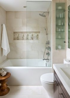 This is the inspiration photo for my bathroom makeover. It is absolutely perfect! Small Space Bathroom - contemporary - Bathroom - Other Metro - Toronto Interior Design Group Small Space Bathroom, Small Tub, Small Bathroom Bathtub, Simple Bathroom, Small Spaces, Master Bathroom, Bathroom Niche, Bathroom Modern, Family Bathroom