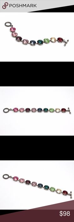 "Multi-colored rainbow Swarovski  rivoli bracelet This crystal bracelet is the perfect go-to for any day. A classic and versatile style adorned with pretty glass crystals. Stack it with other silver bracelets or wear it solo. This gem bracelet is effortless and chic!   ❤ adjustable lobster claps, comes with extender chain 6 3/4"" to 8 1/2"" ❤ Genuine Swarovski Crystals  ❤plated brass- Antique silver ❤ nickel free ❤ handcrafted and hand-set in the USA Swarovski Jewelry Bracelets"