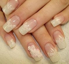 French nails with flowers Sexy Nail Art, Lace Nail Art, Elegant Nail Art, Elegant Nail Designs, Lace Nails, Sexy Nails, Beautiful Nail Designs, Beautiful Nail Art, Flower Nails