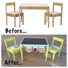 IKEA Hack for the children's Latt table and chairs! My first IKEA hack and I enjoyed every minute of it! Love the finished product too ❤️ Ikea Furniture Hacks, Kids Furniture, Table Ikea, Ikea Kids Table And Chairs, Kids Room Organization, Toddler Rooms, Toy Rooms, Ikea Hack, Kids Decor