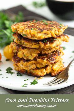 Pan Fried Zucchini, Zucchini Corn Fritters, Pumpkin Fritters, Corn Recipes, Great Recipes, Large Zucchini Recipes, Vegetarian Main Meals, Fried Corn