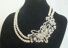 Iris  Vintage style Swarovski Rhinestone and by labellechanson, $48.00