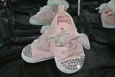 Pink Swarovski Crystal Baby Tennis Crib Shoes Size 2 by PrimBeads, $25.00