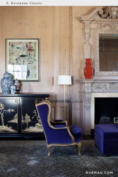 Identifying 12 of the Most Popular Interior Design Styles: European Classic | Rue The chair The color