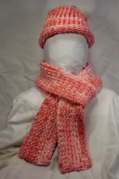 Pink and white handmade crocheted hat and scarf.   Can be purchased at http://www.etsy.com/shop/byBrendaS