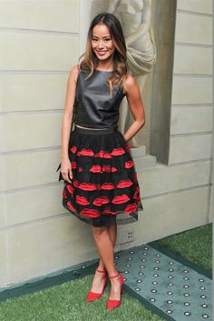 Jamie Chung in Alice and Olivia by Stacey Bendet top, skirt and heels