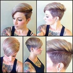 This is my hair cut but it's alot longer on top n it's blueish purplish with black hilights!! I just wish it was more blue!!