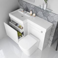 Olympia Gloss White Drawer Vanity Unit – Florence Pan - Maid Tutorial and Ideas Tiny Bathrooms, Steam Showers Bathroom, Tiny House Bathroom, Bathroom Design Small, Bathroom Layout, White Bathroom, Glass Showers, Minimal Bathroom, Marble Bathrooms