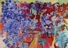 """Saatchi Online Artist Irina Rosenfeldt; Painting, """"Nevesta (bridemaid)"""" #art Elements from nature not shown as such, but as pure energy source of energy from within the color. Flowers as awide open symbolism.  Powerful vibratoes, highly saturated colours generate a vibrant euphoria that does not calm down, they keep operating even at a distance. Just in the middle of feelings and thoughts, searching for a deep idea, acknowledging that in uncertainty truth will appear."""