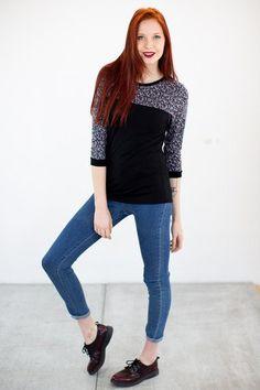 Longsleeves - Shirt Julka in schwarz geblümt - ein Designerstück von Shoko bei DaWanda