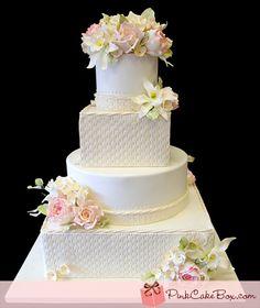 Esperanza Rose Basketweave Wedding Cake by Pink Cake Box in Denville, NJ. Wedding Dress Cake, Themed Wedding Cakes, Spring Wedding Flowers, Wedding Cakes With Flowers, Pink Cake Box, Cupcake Cakes, Cupcakes, Fantasy Cake, Mom Cake