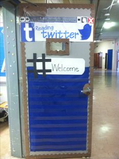 Twitter door decor to go with my social media themed room. The hashtag is laminated so that the lesson title, complex text of the day title, or any other message an be written on it.