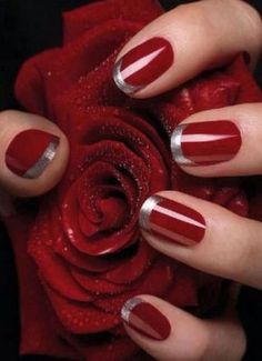 red nail designs with roses Red Nail Designs 2014 perfect because I have red nails right now. Nail Designs 2014, Bridal Nails Designs, Silver Nail Designs, Fingernail Designs, Fancy Nails, Trendy Nails, Classy Nails, Elegant Nails, Romantic Nails