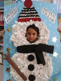 kardan adam Christmas Crafts, Christmas Decorations, Xmas, Diy And Crafts, Arts And Crafts, Black Santa, Build A Snowman, Child Day, Photo Booth Props