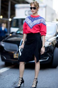 New Yorkers are killing transitional street style at New York Fashion Week…