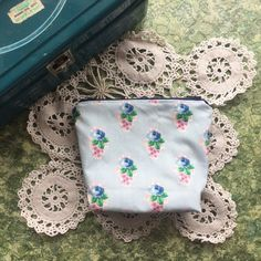 handmade blue  boxy zipper pouch by mackmadegoods on Etsy