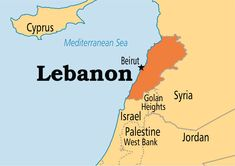 Map of Lebanon. It is bordered by Syria to the north and east and Israel to the southwest. Beirut is the capital. Official languages 	Arabic, recognised national languages 	French