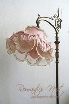 Lamp ~ the stand is gorgeous (This is for sale on a Chinese site, but it could be a good inspiration for making a Shabby Chic lamp shade or lamp. Target has lamps with this kind of stand . just change out the shade. Shabby Chic Floor Lamp, Shabby Chic Lamp Shades, Shabby Chic Stil, Rustic Lamp Shades, Estilo Shabby Chic, Shabby Chic Interiors, Shabby Chic Bedrooms, Shabby Chic Cottage, Vintage Shabby Chic