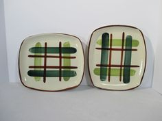 Blair Pottery Gay Plaid Trays Platters Green Rectangular Hand Decorated Set of 2 #Blair