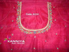 Simple Thread Work Done On Blouse By Kanniya Aari Works Aari Work