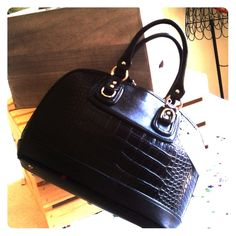 Faux Croc Embossed Satchel -Black You can feel the heat from this hot croc embossed bag! Double handles strap, top zipper opn/closure. Hard body, plenty of room. Bags Satchels