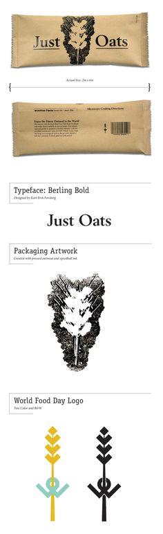 Just Oats; organic oatmeal packaging & world food day logo