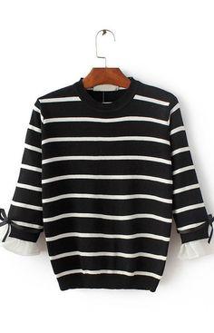 Cassandra, Sweater Black and White Stripes