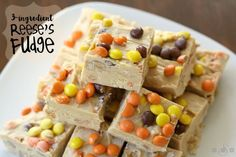 Reese's Fudge with a smooth, creamy texture & peanut butter flavor that's only has 3 ingredients! Topped with mini Reese's Pieces for flavor & fun.