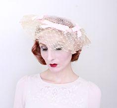 1950s Hat   VINTAGE   Wide Brim   Pastel Pink   50s Hat   Bows   Lace    1930s Style 01ea13b994ab