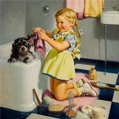 At the dog wash! #vintagedogposter #grooming #ecohugdog