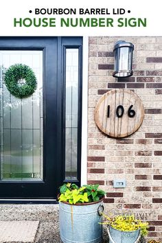 Diy House Projects, Cool Diy Projects, Project Ideas, Craft Projects, House Address Sign, Address Signs, Bourbon Barrel, House Numbers, House In The Woods