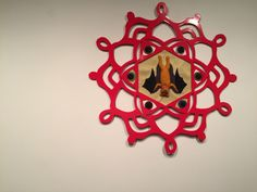 """Kathryn Hunter, """"Prophecy,"""" 2015, laser cut, powder coated steel, sewing, mixed media, detail"""
