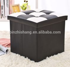 Europe Popular 100% Service Folding Storage Ottoman set foldable storage Cube with PU leather for Home storage