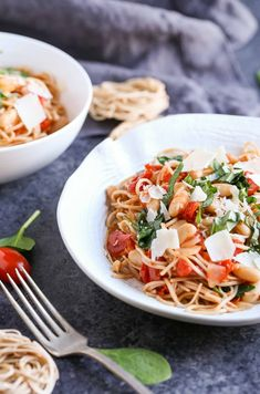 Roasted Tomatoes, White Beans, and Spinach with Whole Wheat Pasta - The Pasta Shoppe Healthy Pasta Dishes, Healthy Pastas, Yummy Pasta Recipes, Healthy Dinner Recipes, Spinach Pasta Recipes, Noodle Recipes, Healthy Dinners, Rice Recipes, Whole Wheat Pasta
