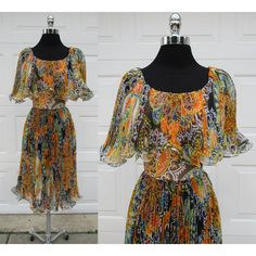 70s Miss Elliot Pleated Paisley Chiffon Dress Off Shoulder Pleated... ($75) ❤ liked on Polyvore featuring sheer slip, vintage slip, ruffle slip, chiffon slip and maxi slip