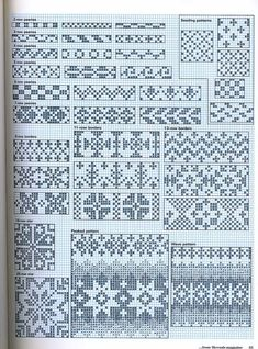 Threads magazine 08 dec 1986 jan 1987 by Pennie Annie Knitting Charts, Knitting Stitches, Knitting Patterns, Cross Stitch Borders, Cross Stitch Patterns, Loom Beading, Beading Patterns, Little House Needleworks, Fair Isle Chart
