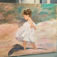 Girl on beach spinning and holding her skirt . Painted by me