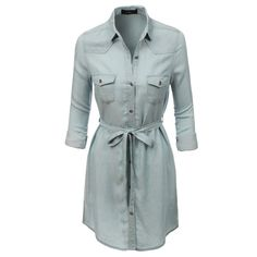 LE3NO Womens Casual Long Sleeve Button Down Denim Dress (55 BAM) ❤ liked on Polyvore featuring dresses