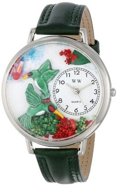 Whimsical Watches Unisex U1210003 Hummingbirds Green Leather Watch - http://www.artistic-watches.com/2015/03/06/whimsical-watches-unisex-u1210003-hummingbirds-green-leather-watch/