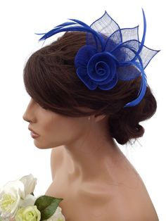 Elegant Royal Blue Rose Design Hair Clip Grip Fascinator Corsage Feathers Races