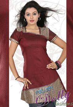 Maroon Embroidered Cotton & Raw Silk Kurti/ Indian Tunic Top