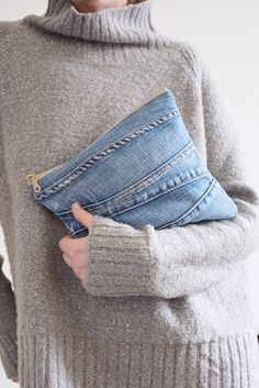 SUMMER SALE! DENIM clutch bag with cotton lining // recycled denim - upcycled denim pouch with zipper // can be used as make up bag or toile