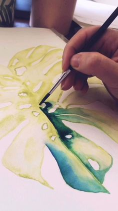 Watercolor Paintings For Beginners, Watercolor Video, Watercolor Landscape Paintings, Watercolor Leaves, Gouache Painting, Watercolor Techniques, Tropical Paintings, Tropical Art, Watercolor Artists