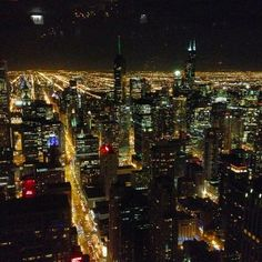 #Chicago at night, as seen from the Hancock Building.    Photo courtesy of slhosker on Instagram.