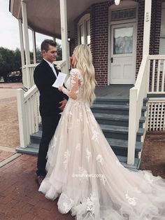Gorgeous Ball Gown V Neck Long Sleeve Lace Champagne Long Wedding Dresses with …. Gorgeous Ball Gown V Neck Long Sleeve Lace Champagne Long Wedding Dresses with … Prom Dress With Train, V Neck Wedding Dress, Long Wedding Dresses, Long Sleeve Wedding, Tulle Wedding, Bridal Dresses, Wedding Gowns, The Dress, Chic Wedding