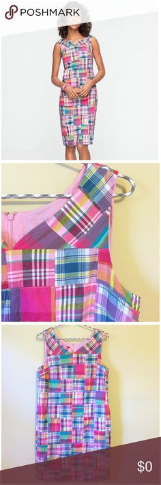 """HP  Talbots Madras Plaid Patchwork Shift Dress Talbots Madras Plaid Patchwork shift Dress --- 8P --- petite sizes are specifically tailored for women 5'4"""" and shorter --- fully lined with onseam pockets --- back zipper with hook and eye closure --- 100% cotton --- 18"""" bust --- 34"""" length --- excellent pre-loved condition, no signs of wear or imperfections --- thank you for visiting my boutique, please feel free to ask any questions Talbots Dresses"""